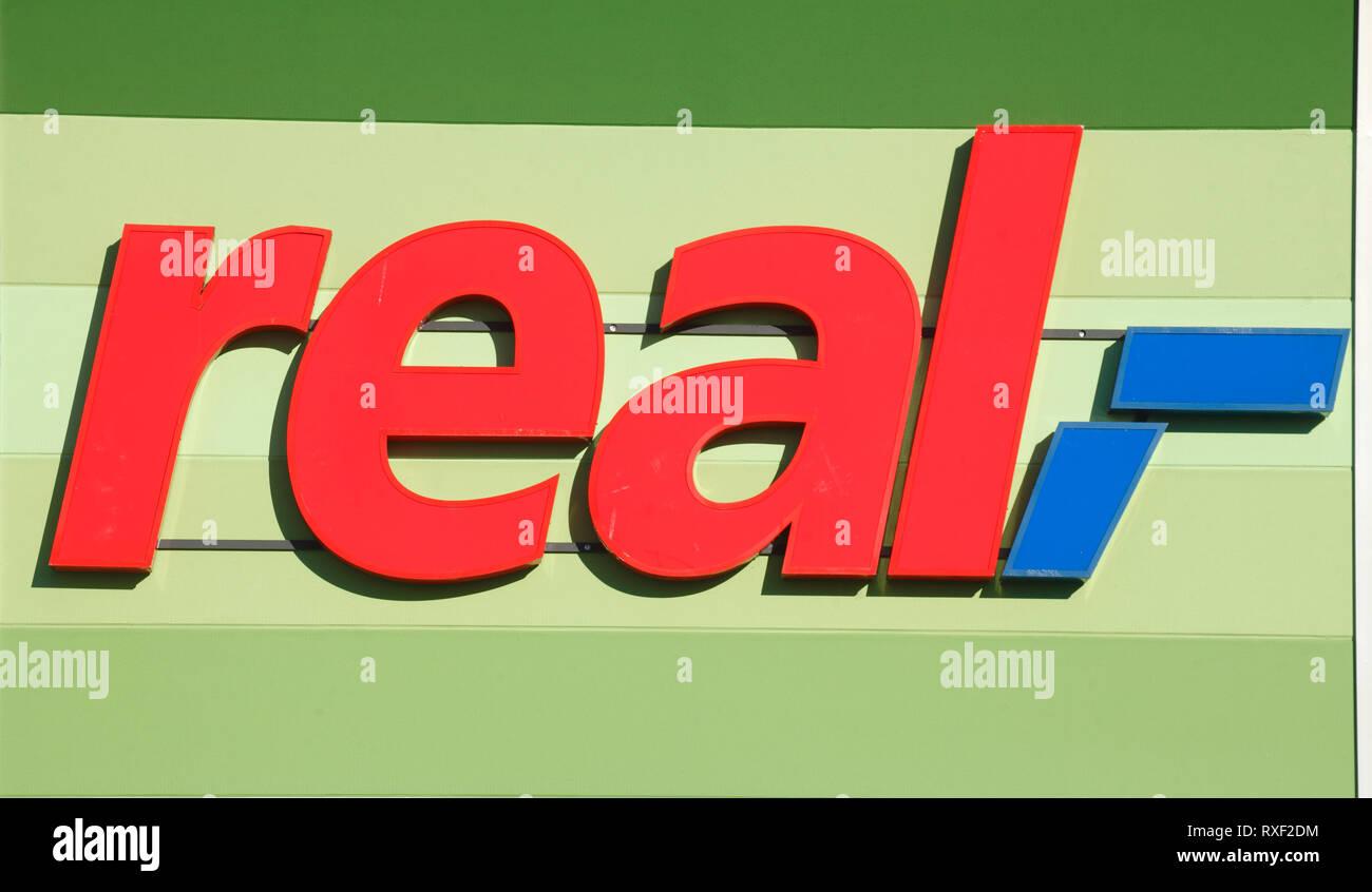 Real logo, Germany, Europe - Stock Image