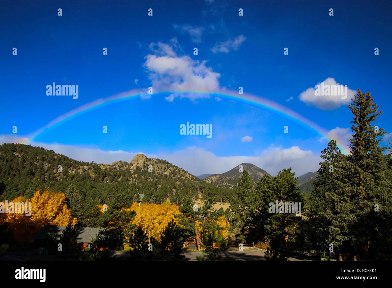 Rainbow at Estes Park, CO - Stock Image