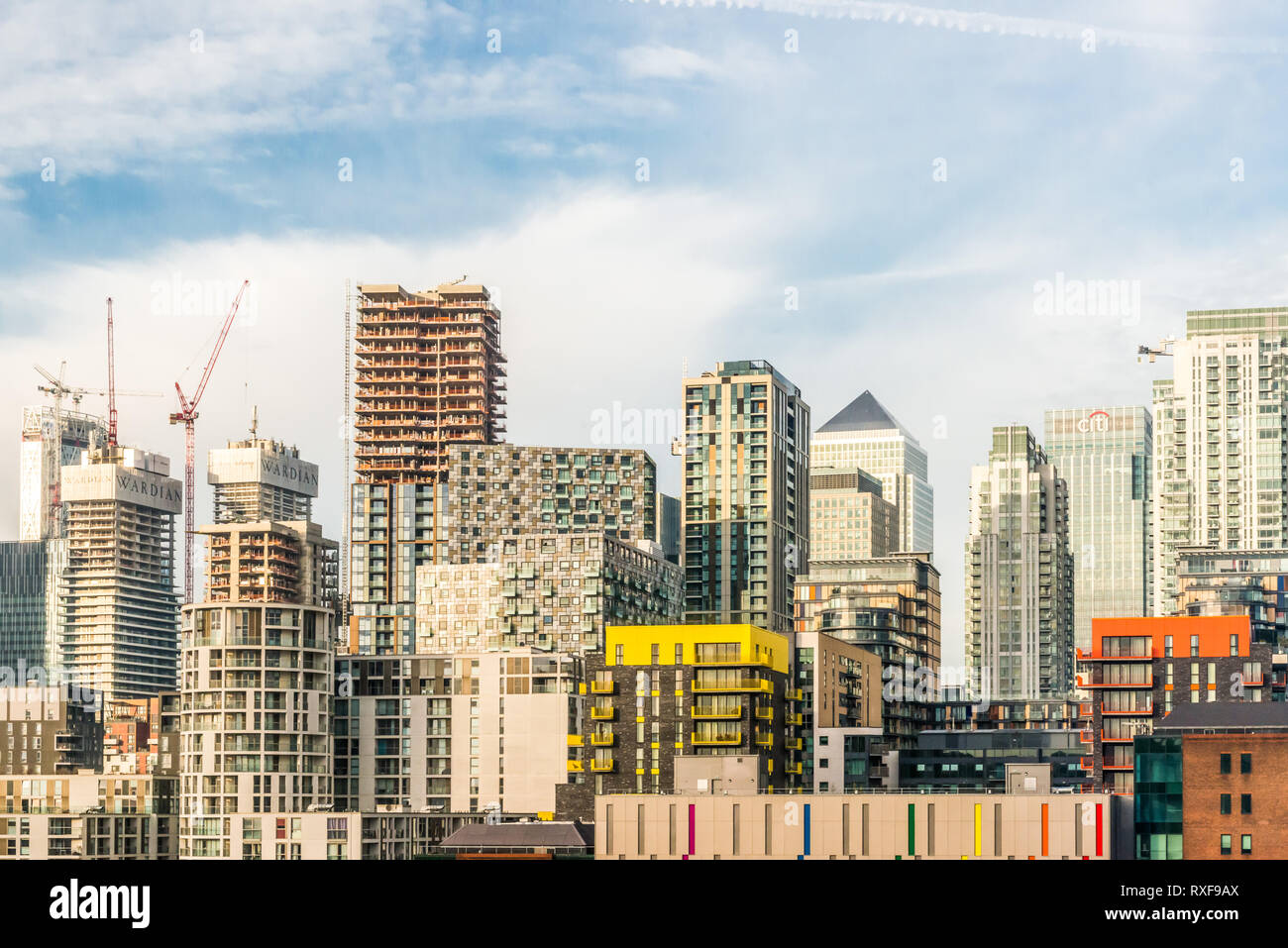 London, United Kingdom - November 07, 2018: View from Greenwich View Place towards Canary Wharf and new construction - Stock Image