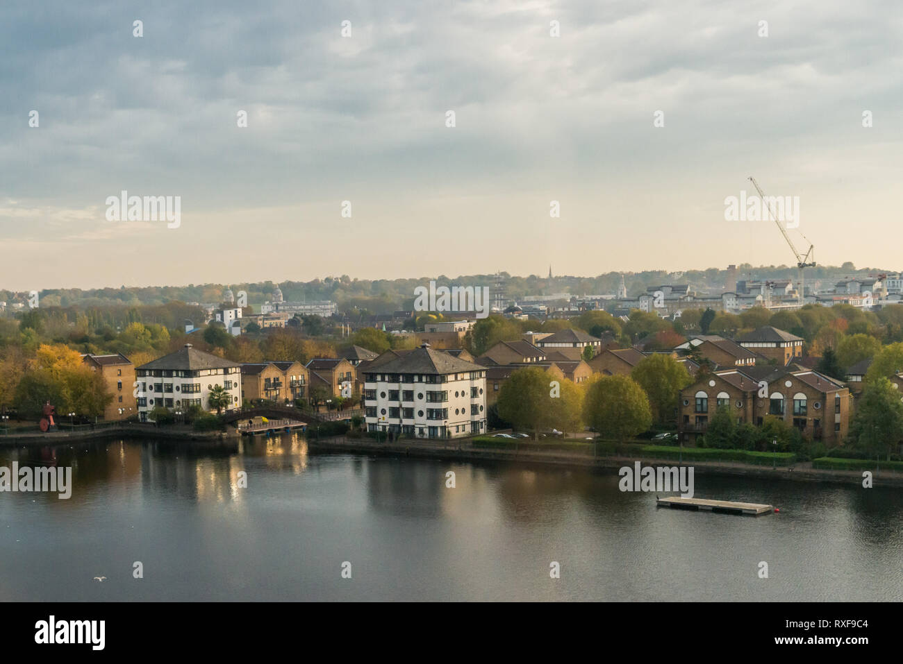 London, United Kingdom - November 07, 2018: View from Greenwich View Place towards Mudchute, Millwall Dock, and Greenwich park - Stock Image