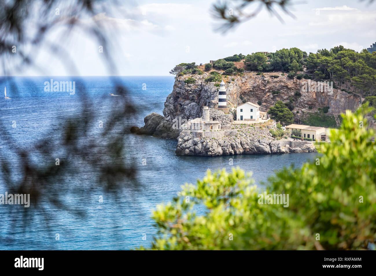 Leuchtturm Port de Sóller Mallorca Spanien Stock Photo