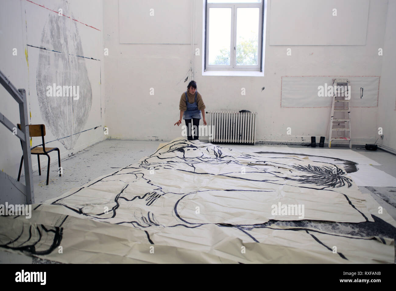 Dans l'atelier des artistes Ella & Pitr à Saint-Etienne - Stock Image