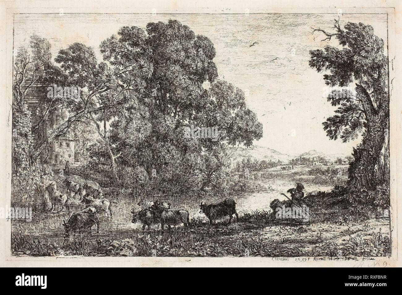 The Cowherd. Claude Lorrain; French, 1600-1682. Date: 1636. Dimensions: 125 × 194 mm (image); 130 × 120 mm (plate); 139 × 209 mm (sheet). Etching on ivory laid paper. Origin: France. Museum: The Chicago Art Institute. - Stock Image