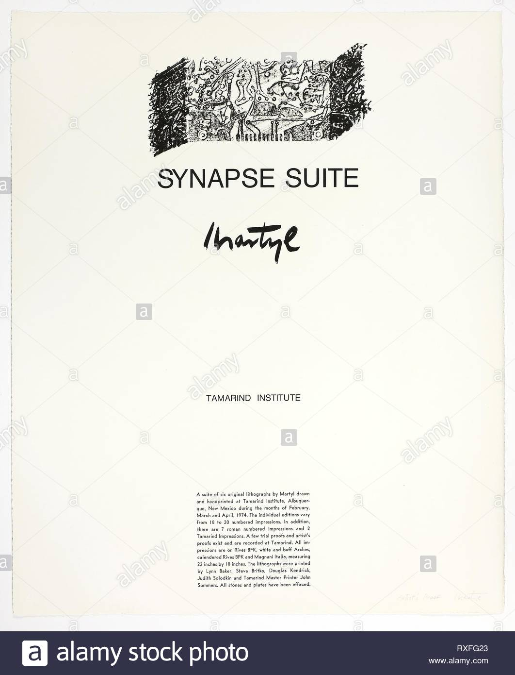 Colophon Page, from Synapse Suite. Martyl; American, 1918-2013. Date: 1974. Dimensions: 560 x 455 mm. Lithograph on paper. Origin: United States. Museum: The Chicago Art Institute. Author: Suzanne Martyl Langsdorf. - Stock Image