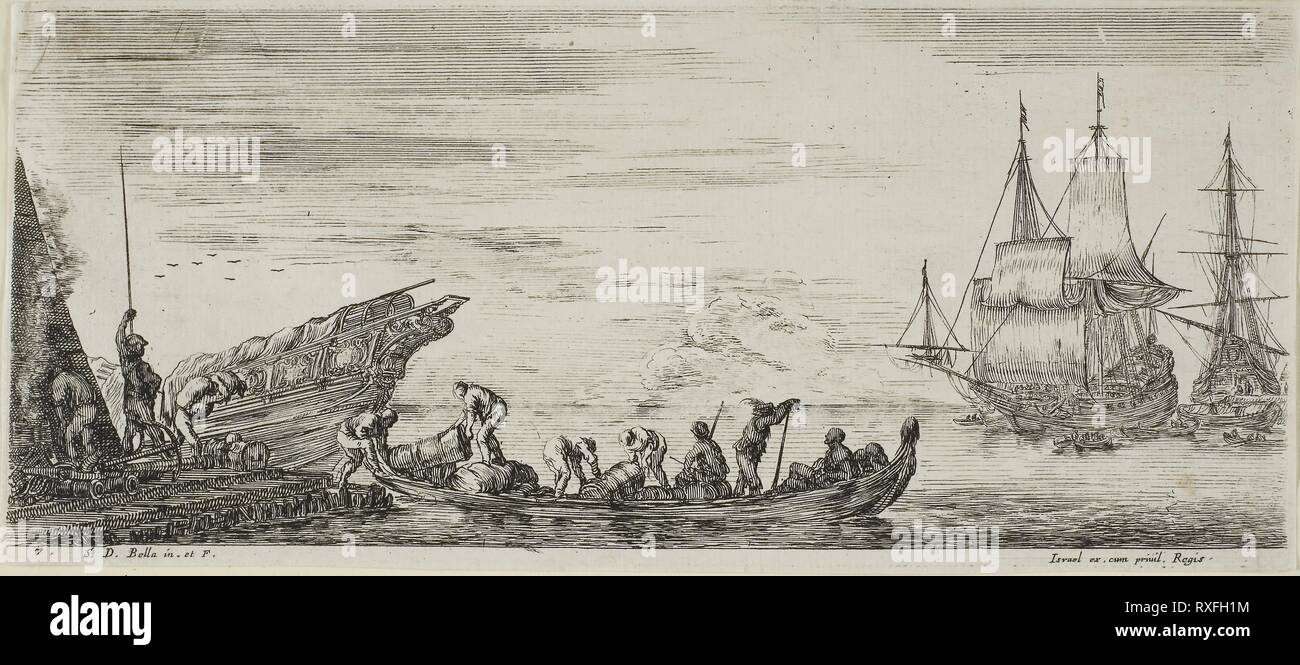 Plate One from Various Embarkments. Stefano della Bella; Italian, 1610-1664. Date: 1630-1664. Dimensions: 75 x 162 mm (image/plate); 77 x 165 mm (sheet). Etching on ivory laid paper. Origin: Italy. Museum: The Chicago Art Institute. - Stock Image
