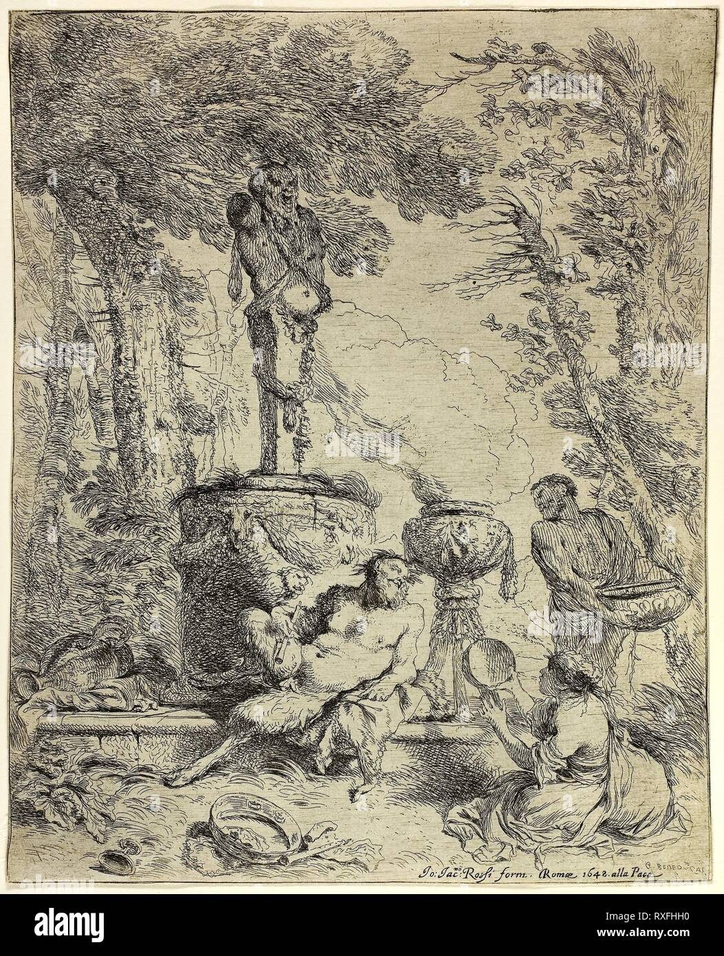 Feast of Pan. Giovanni Benedetto Castiglione; Italian, 1609-1664. Date: 1642-1652. Dimensions: 227 x 184 mm (image/sheet; cut within plate). Etching on ivory paper. Origin: Italy. Museum: The Chicago Art Institute. Stock Photo