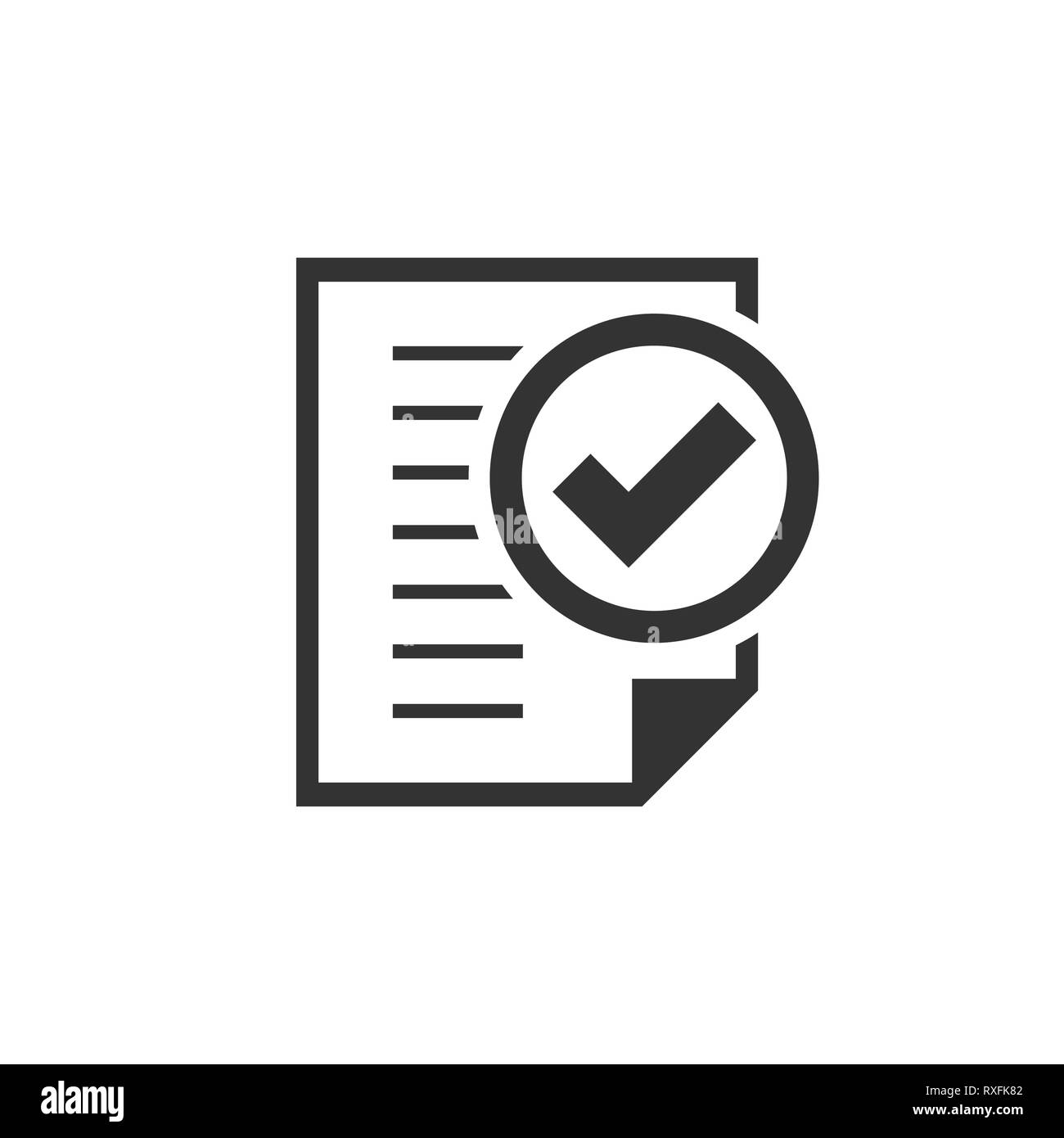 Compliance document icon in flat style  Approved process