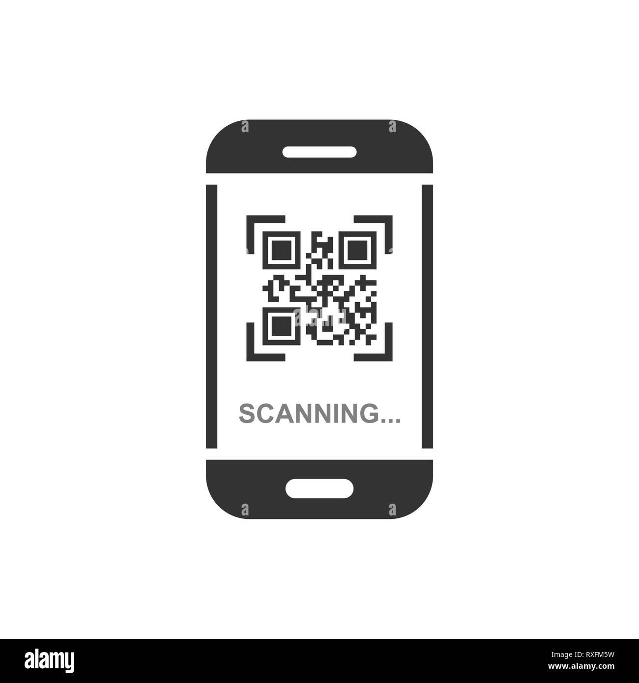 phone, qr, code, scan, smartphone, icon, scanner, vector