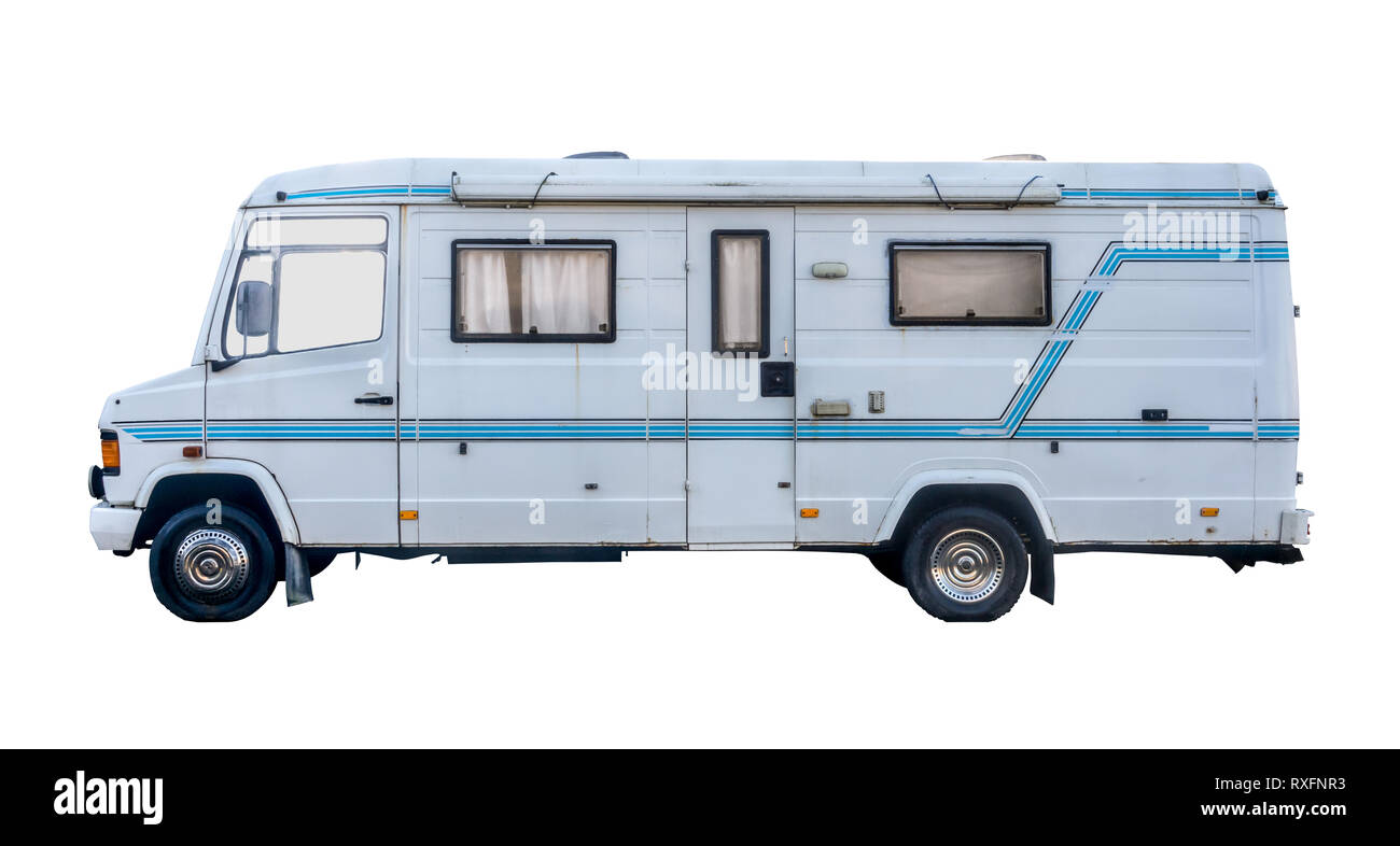 Isolated Vintage Grungy Old White Campervan Or Motorhome On A White Background Stock Photo Alamy