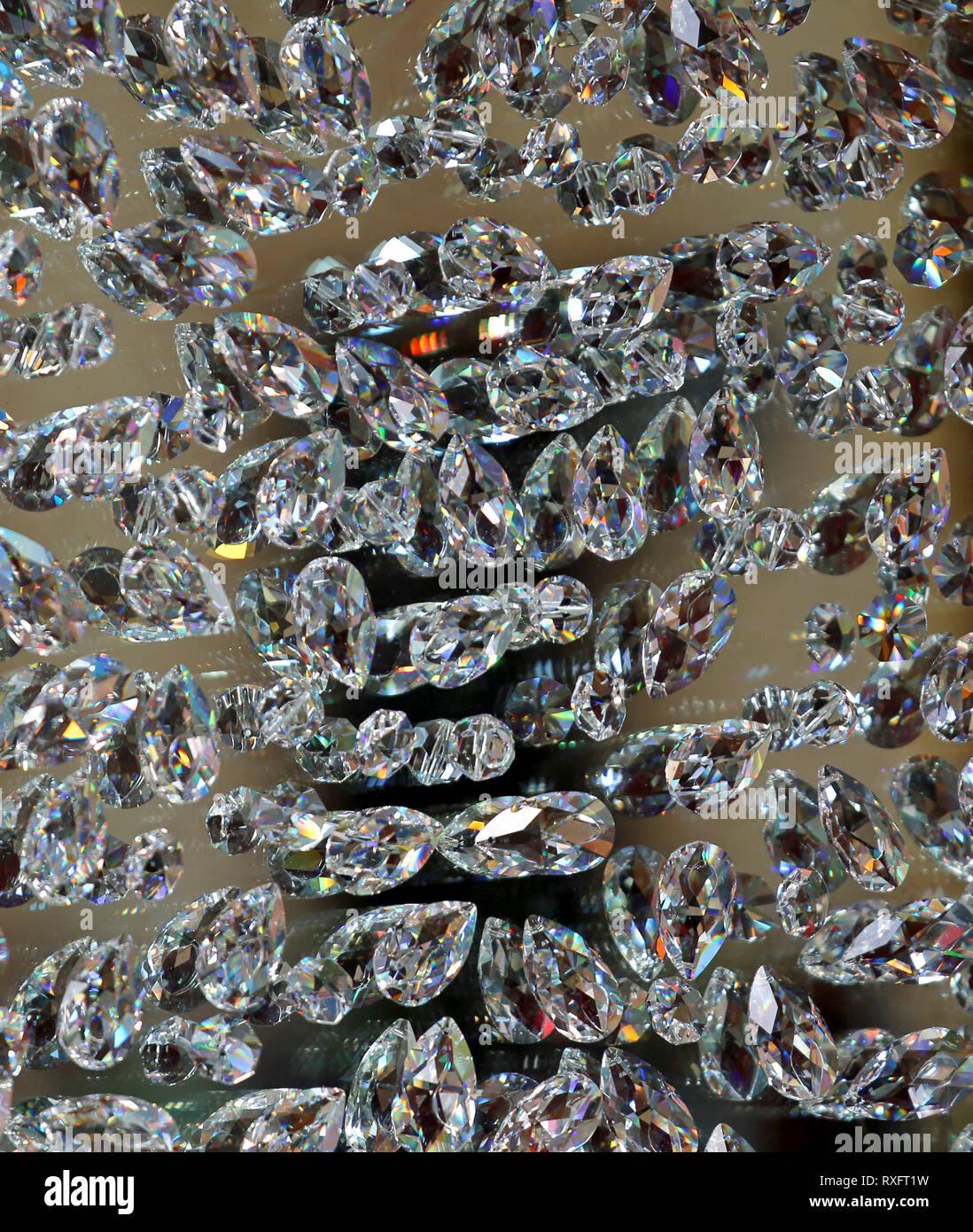 background of many diamonds symbol of luxury and comfort - Stock Image