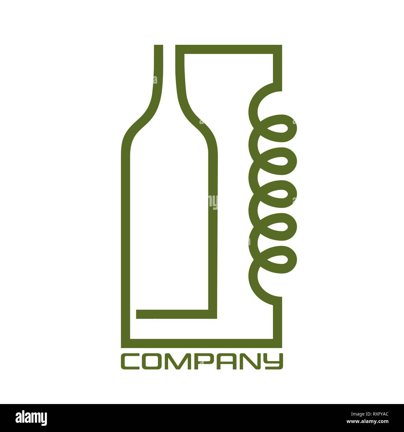 Distiller and bottle logo - Stock Image