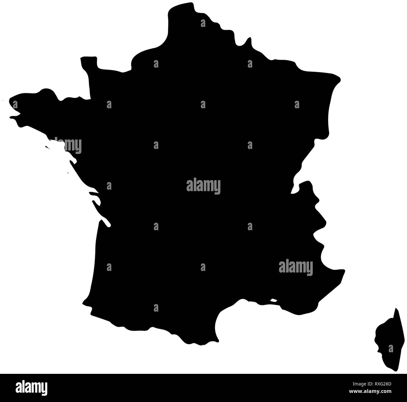 The France country Map illustration black - Stock Image