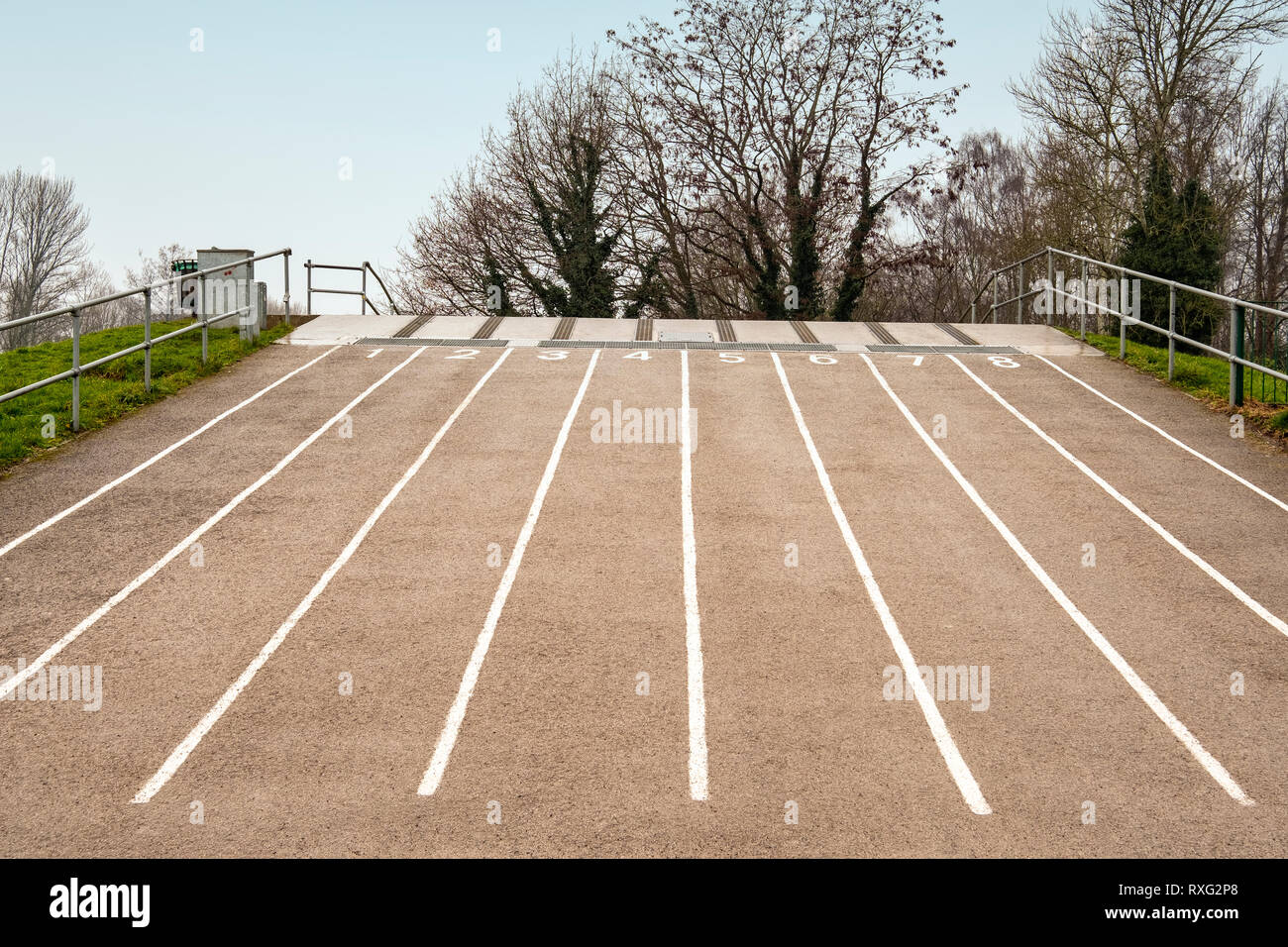 BMX starting grid at Tipkinder park part of Queens park in Crewe Cheshire UK - Stock Image