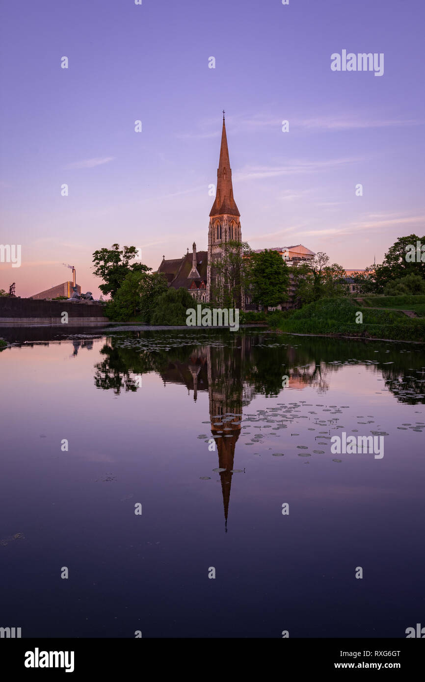 Sunset over the St Alban's Church - Stock Image