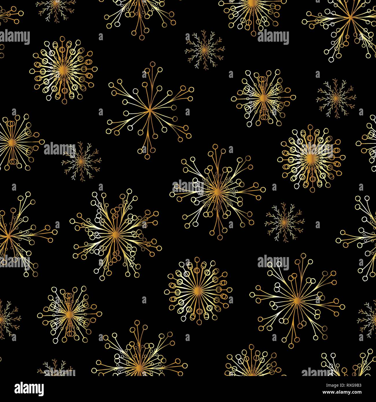Beautiful Vector Seamless Pattern With Gold Snowflakes On