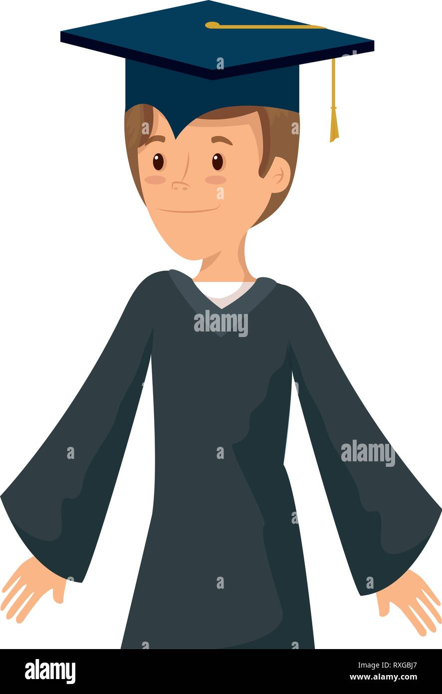 young student graduated character - Stock Image