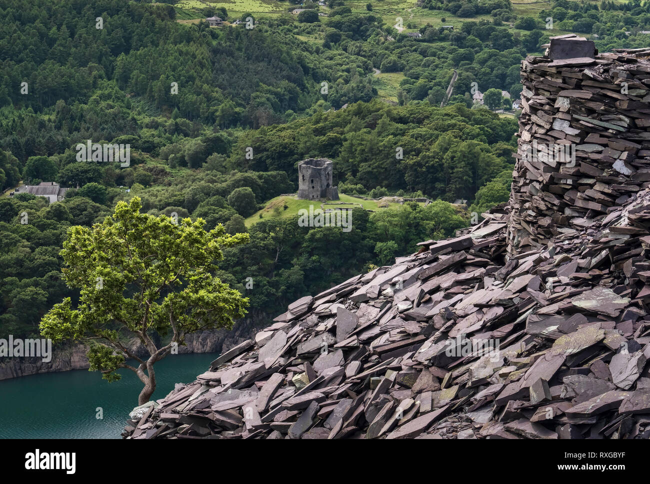 Dolbadarn Castle and Llyn Peris from Dinorwic Slate Quarry, Snowdonia National Park, North Wales, UK - Stock Image