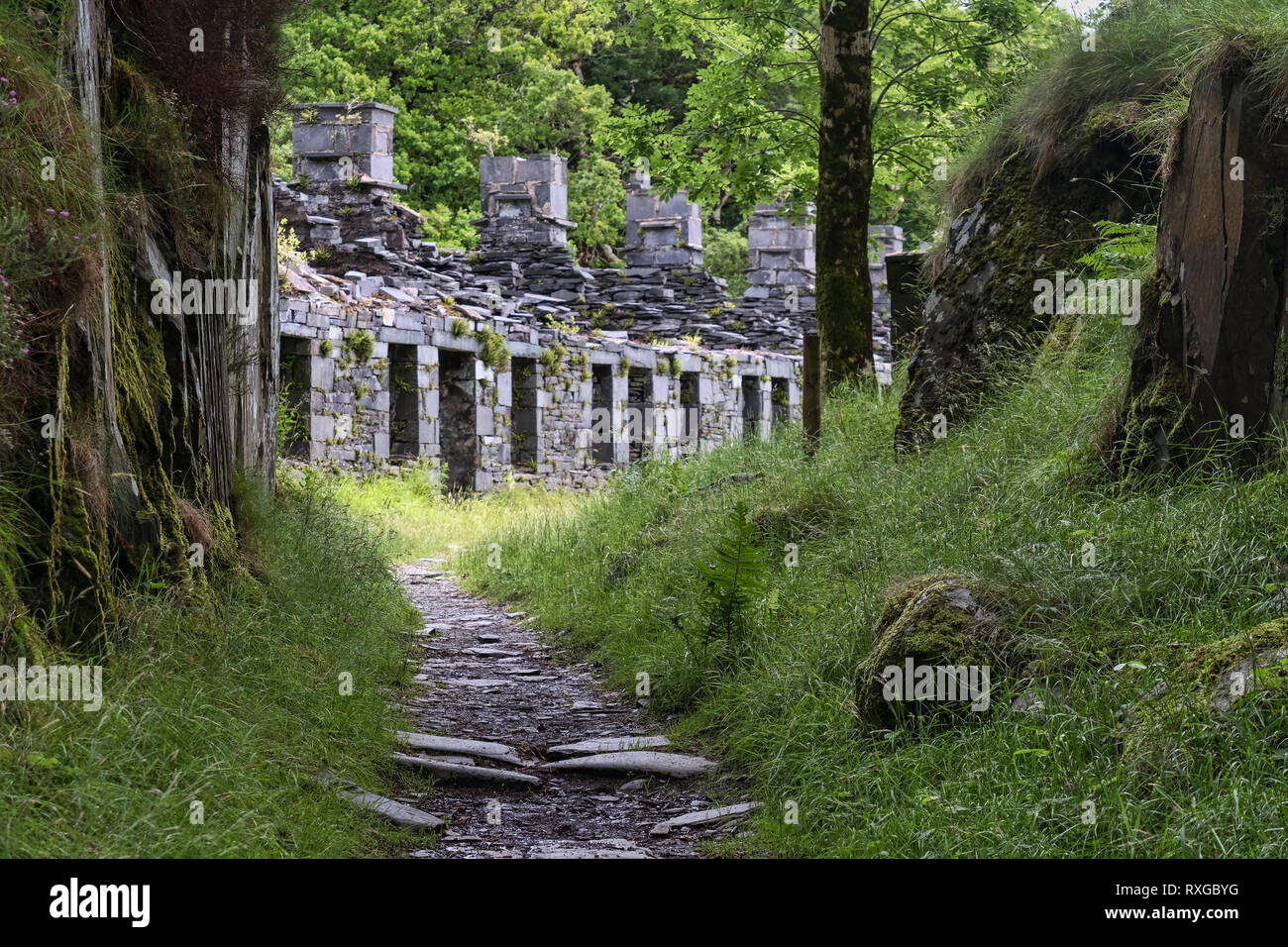 Anglesey Barracks, The Quarrymans Path, Dinorwic Quarry, Snowdonia National Park, North Wales, UK - Stock Image