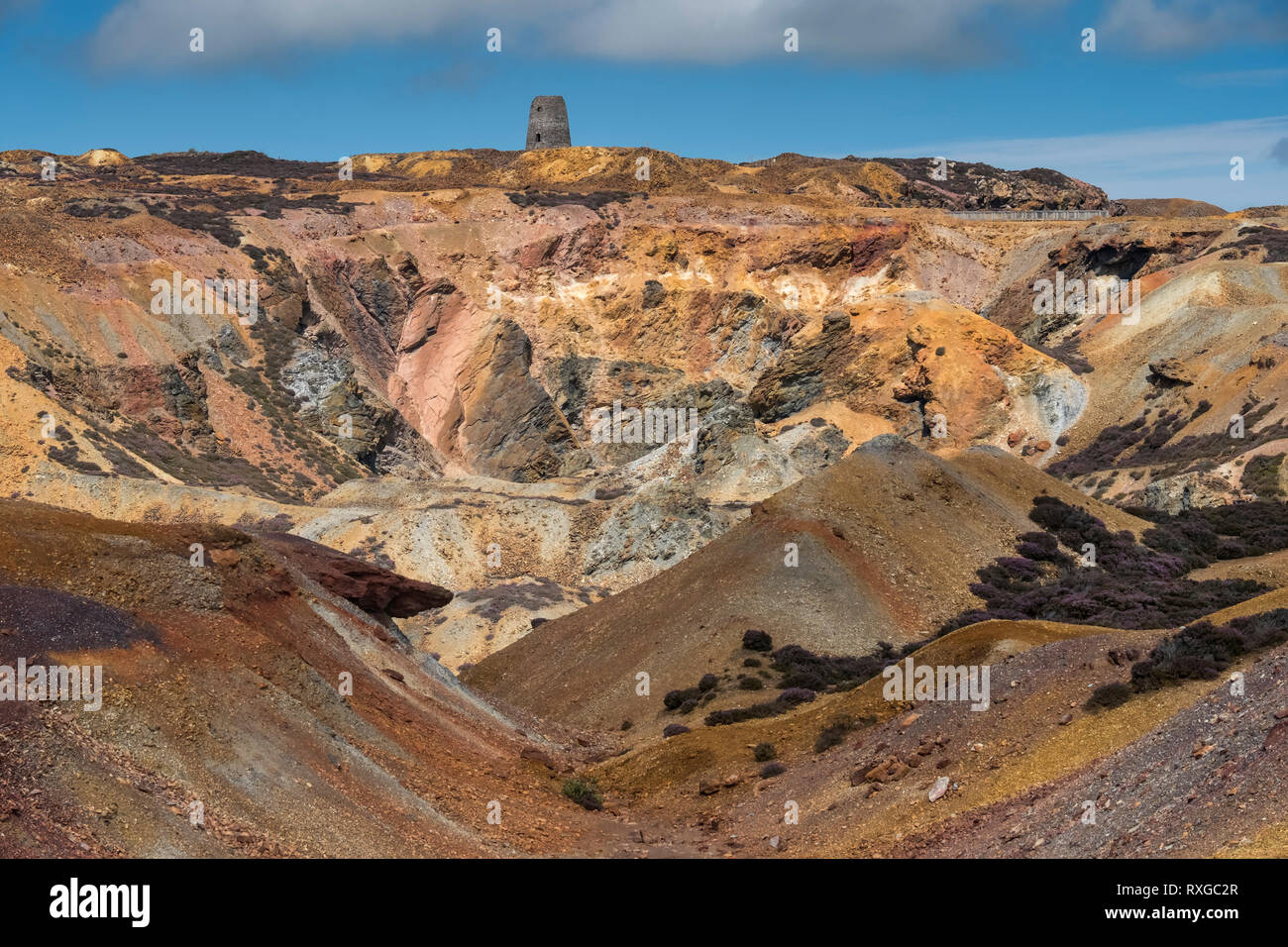 The Old Windmill at Parys Mountain abandoned Copper Mine, near Amlwch, Anglesey, North Wales, UK - Stock Image