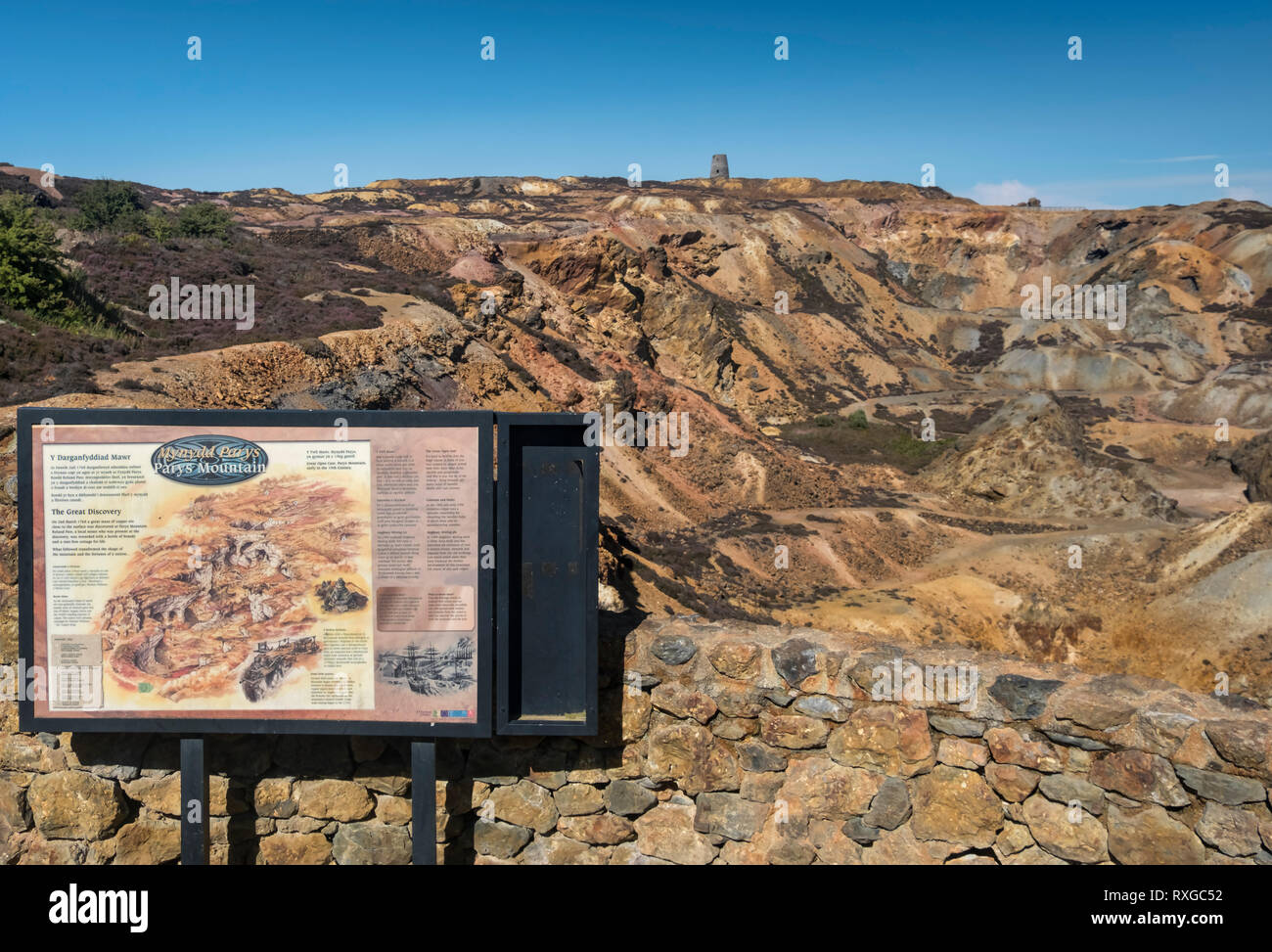 Information Board at the viewpoint, Parys Mountain abandoned Copper MIne, near Amlwch, Anglesey, North Wales, UK - Stock Image