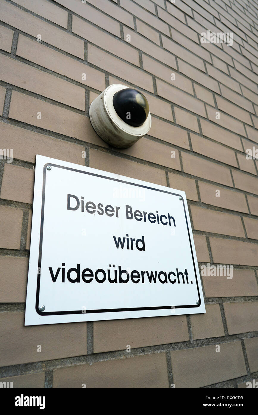 Sign saying 'this area is being video-monitored' - Stock Image