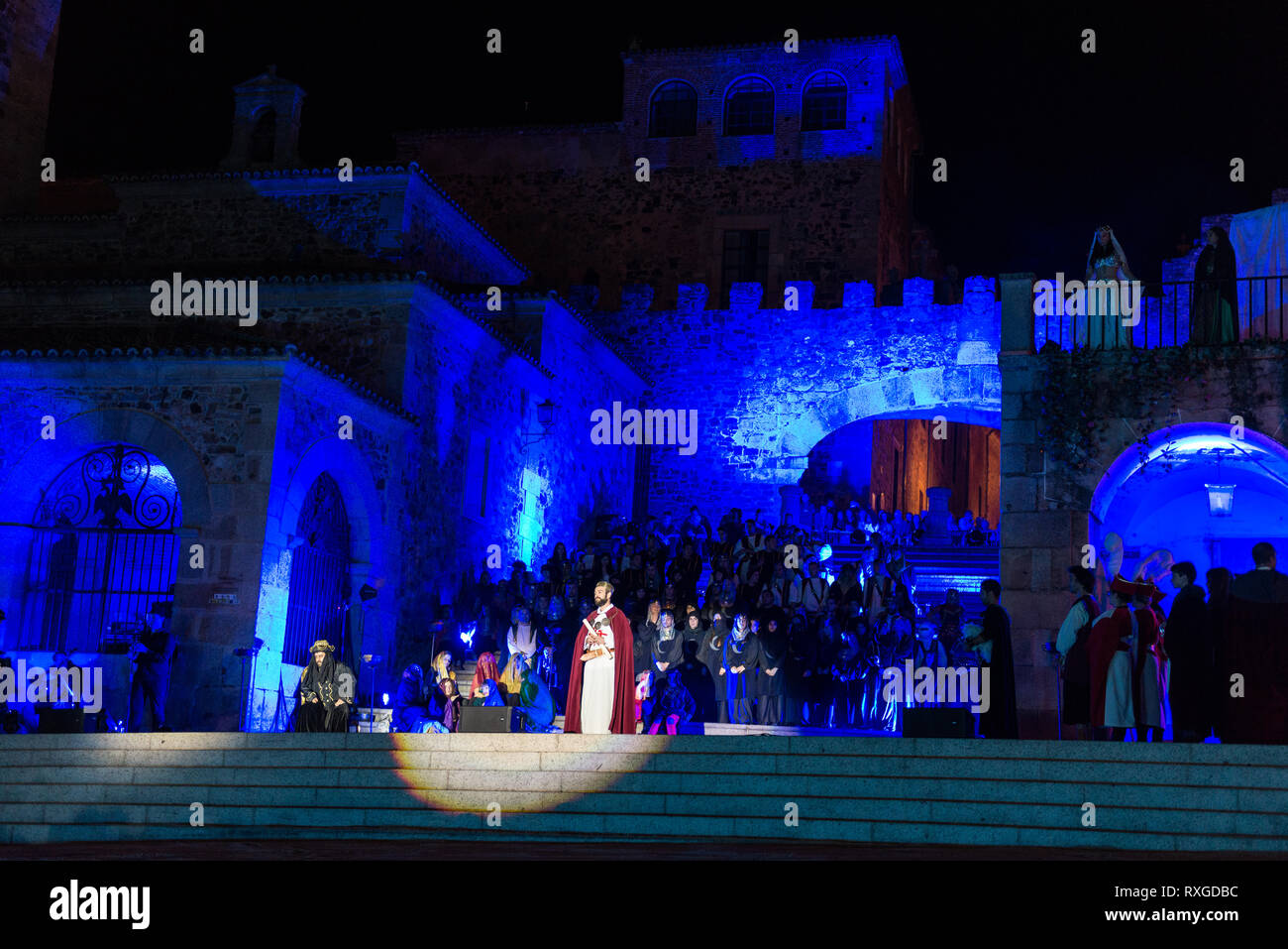 Staging in the old medieval quarter of caceres on the occasion of the feast of Saint George. - Stock Image