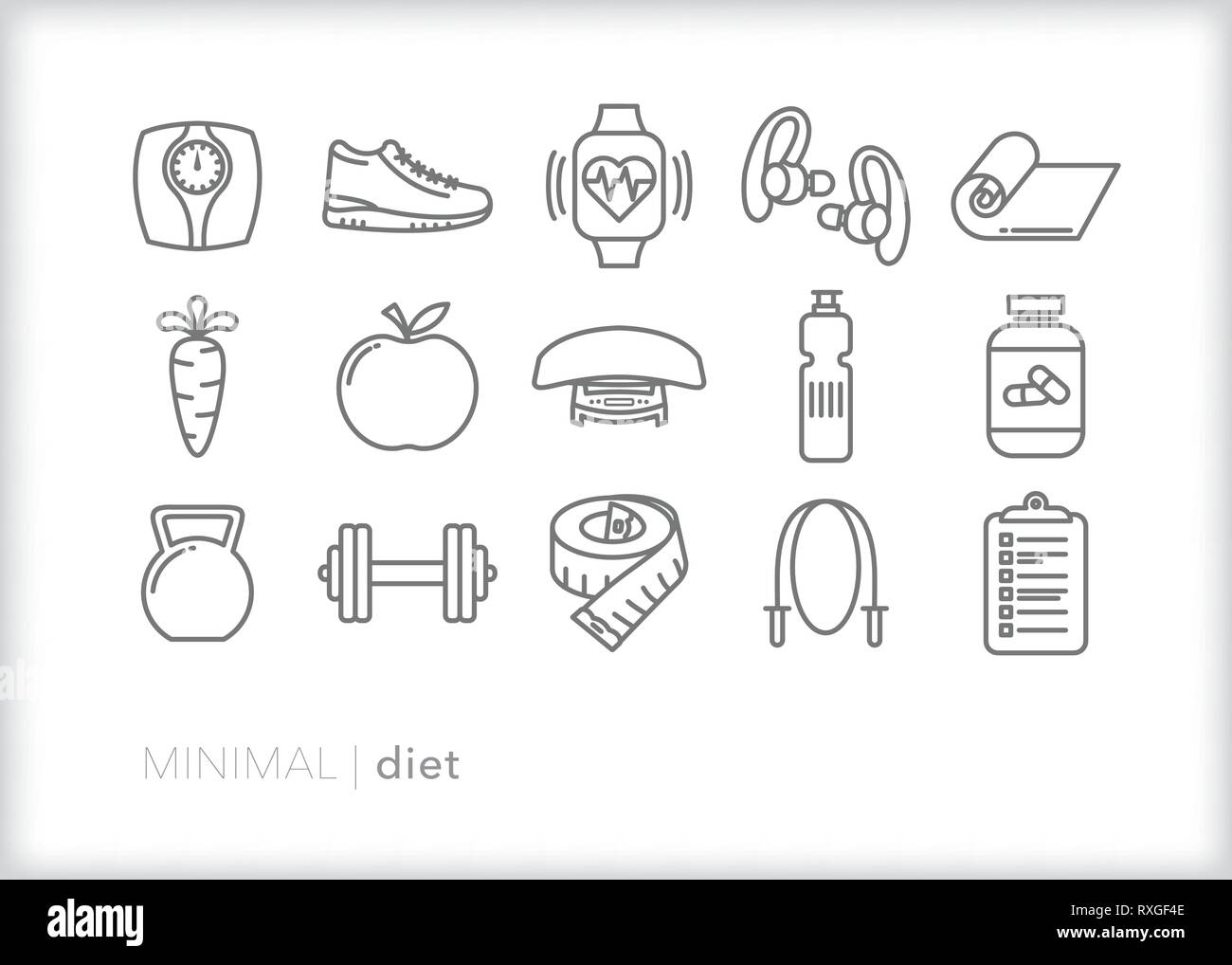 Set of 15 diet line icons for eating healthy, working out, stretching, being active, general fitness and losing weight - Stock Vector
