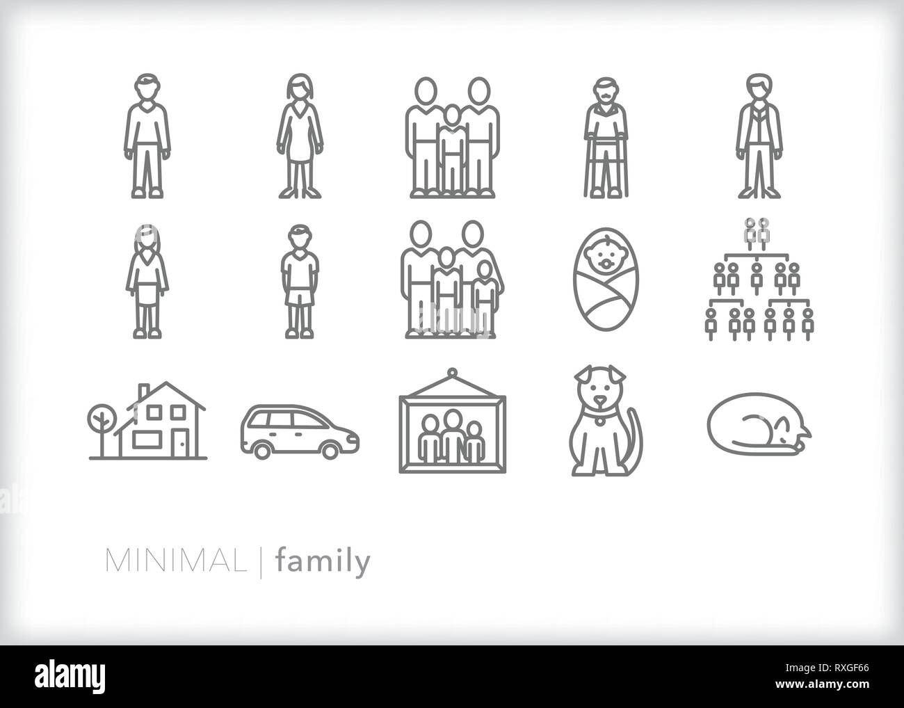 Set of 15 family line icons showing types of family members including mother, father, children, baby, pets, house, car, family portrait and ancestry - Stock Vector