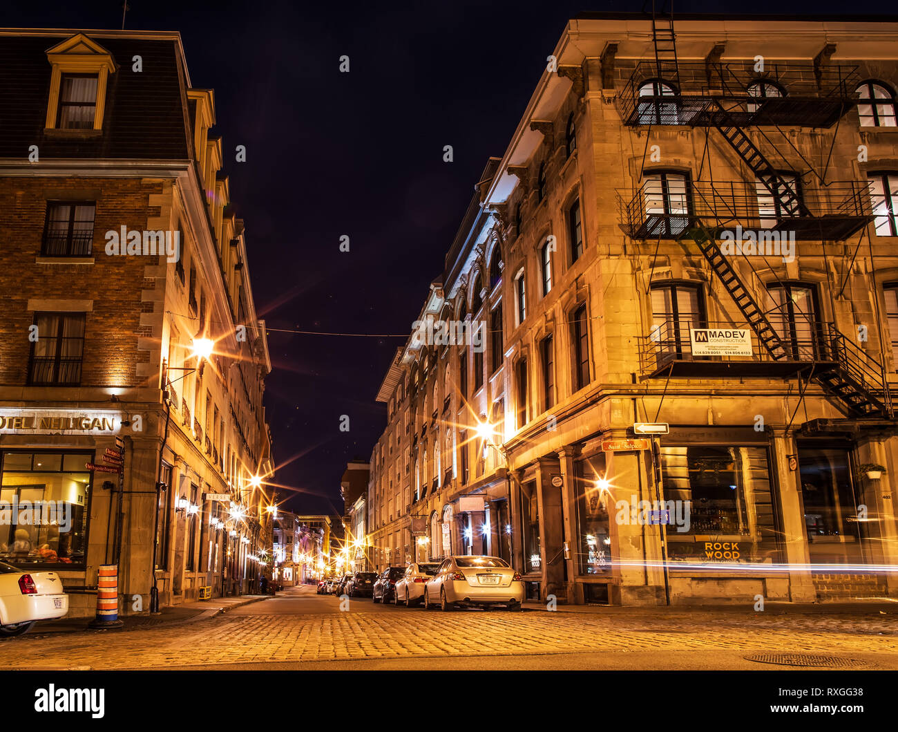 Old urban architecture of Montreal culture patrimony. Small street ...