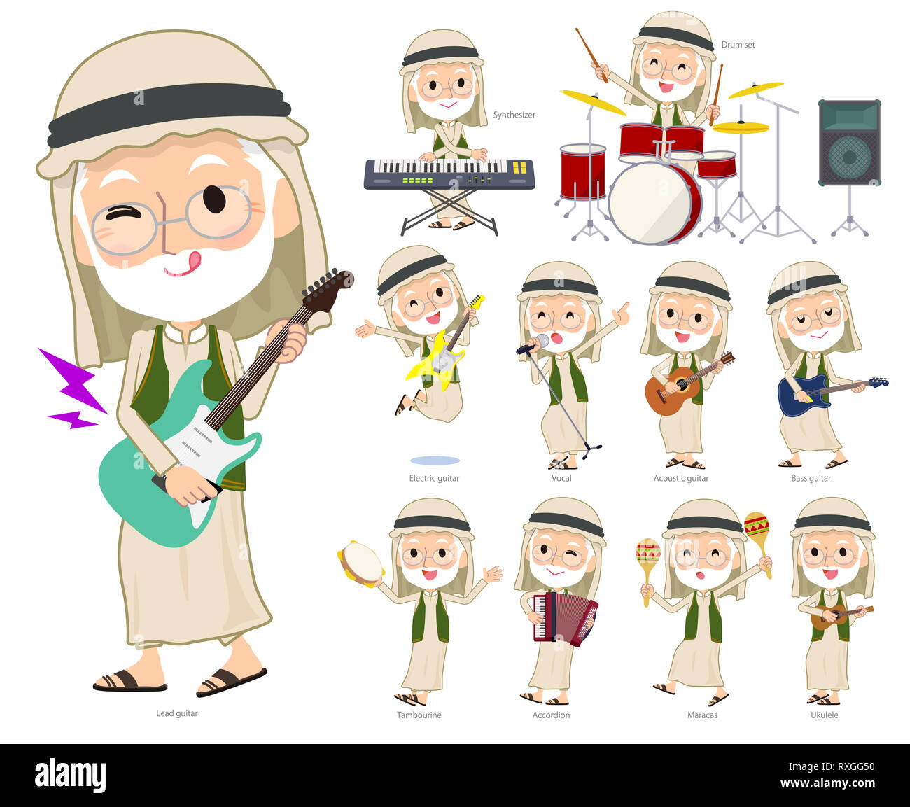 A set of Arabian old men playing rock 'n' roll and pop music.There are also various instruments such as ukulele and tambourine.It's vector art so it's - Stock Image