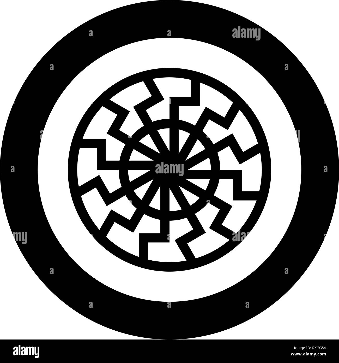 Black sun symbol icon black color vector in circle round illustration flat style simple image - Stock Image