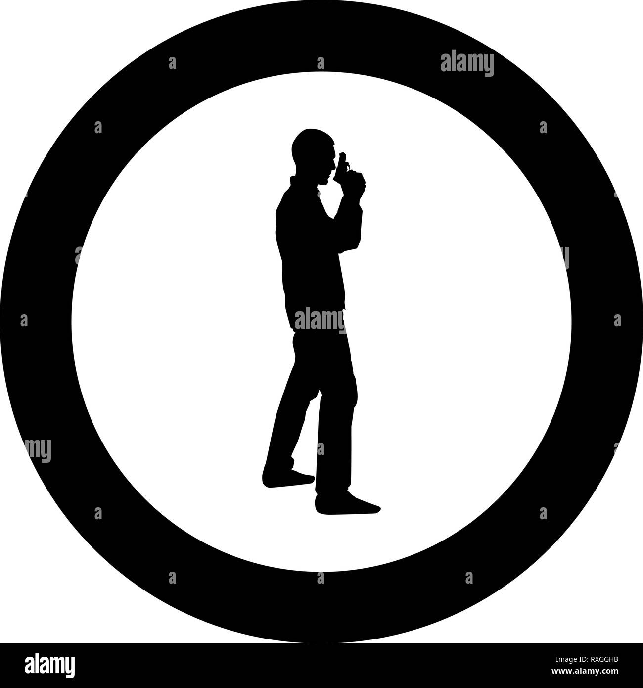 Man with gun Hazard concept icon black color vector in circle round illustration flat style simple image Stock Vector