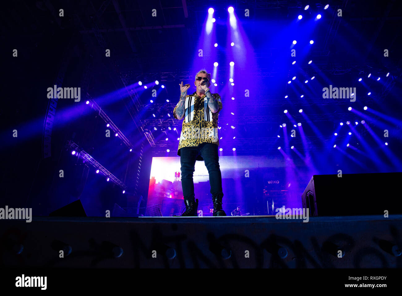 Turin, Italy. 9th Mar, 2019. The Italian rapper Salmo seen performing live at Pala Alpitour in Salmo Music Concert. Credit: Diego Puletto/SOPA Images/ZUMA Wire/Alamy Live News Stock Photo