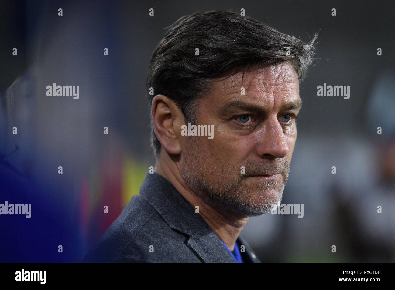 Duisburg, Deutschland. 08th Mar, 2019. Oliver Kreuzer (KSC Sports Director). GES/football/3rd league: Krefelder football club Uerdingen - Karlsruher SC, 08.03.2019 Football/Soccer: 3rd League: KFC Uerdingen vs Karlsruher SC, Duisburg, March 8, 2019 | usage worldwide Credit: dpa/Alamy Live News - Stock Image
