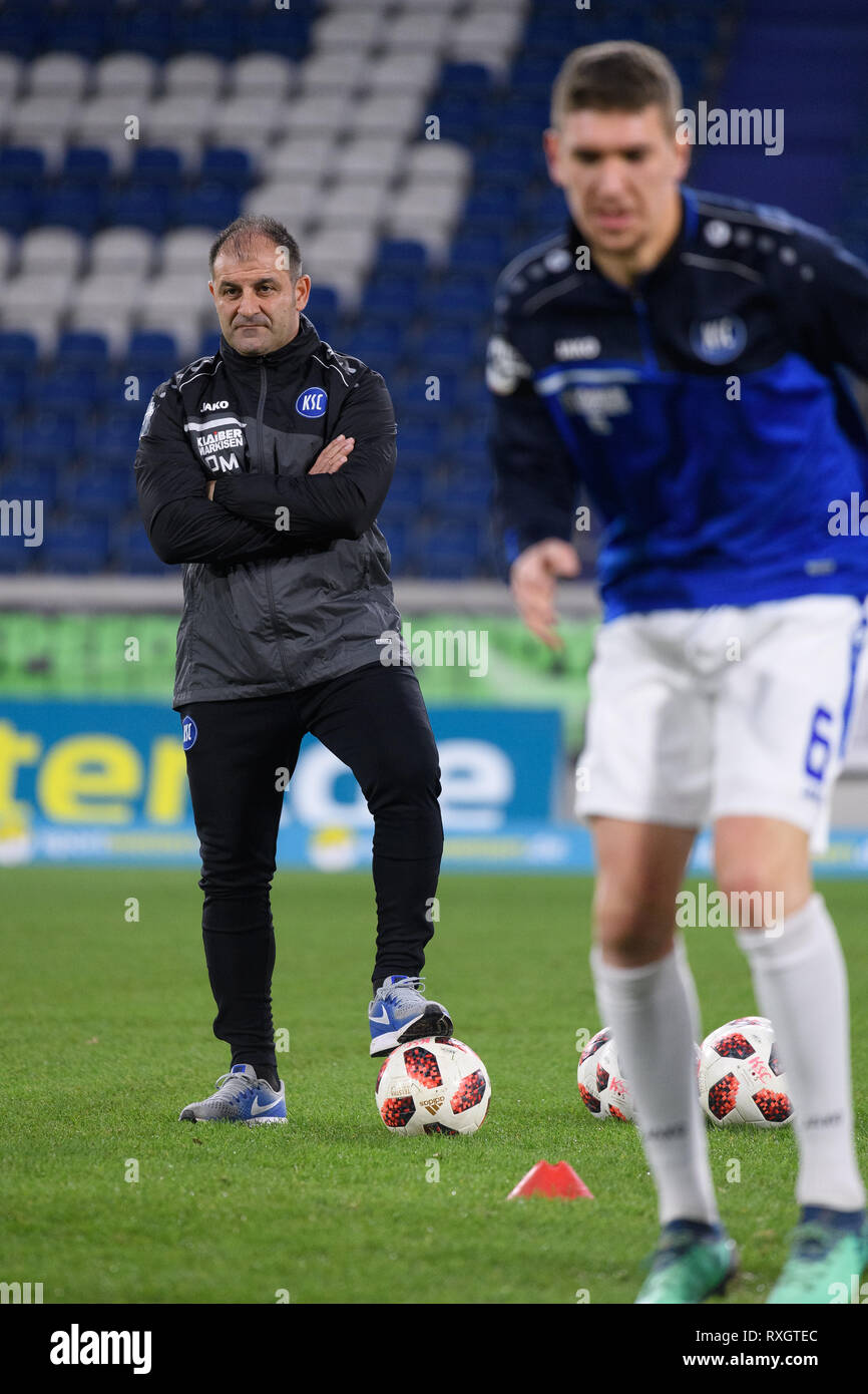 Duisburg, Deutschland. 08th Mar, 2019. Diwithrios Moutas (co-coach KSC). GES/football/3rd league: Krefelder football club Uerdingen - Karlsruher SC, 08.03.2019 Football/Soccer: 3rd League: KFC Uerdingen vs Karlsruher SC, Duisburg, March 8, 2019 | usage worldwide Credit: dpa/Alamy Live News - Stock Image
