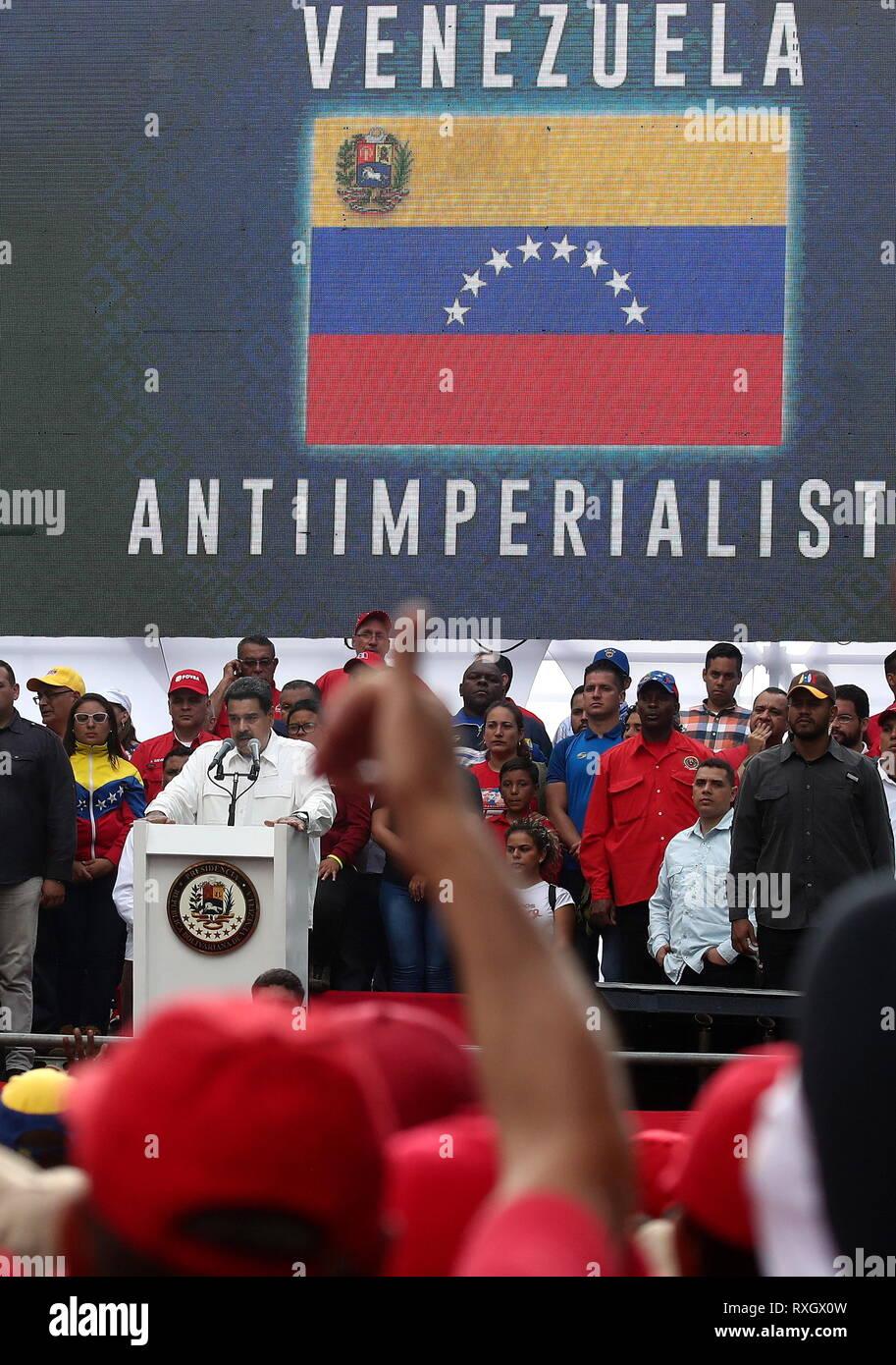 Caracas, Venezuela. 09th Mar, 2019. CARACAS, VENEZUELA - MARCH 10, 2019: Venezuela's President Nicolas Maduro speaks during a rally marking Anti-imperialism Day by the Miraflores Palace. Valery Sharifulin/TASS Credit: ITAR-TASS News Agency/Alamy Live News - Stock Image