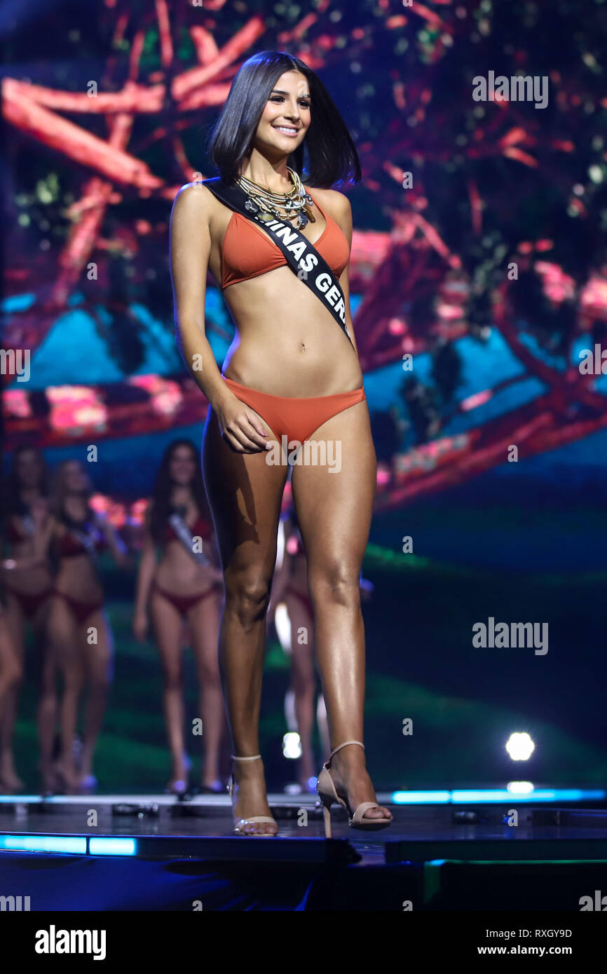 Sao Paulo, Brazil. 9th March 2019. Miss Brazil winner Julia Horta, 24 years old Miss Minas Gerais Be Emotion during the Miss Brasil Be Emotion contest at the São Paulo Expo exhibition center in the south of the city of São Paulo, on Saturday, 09. Credit: William Volcov/ZUMA Wire/Alamy Live News - Stock Image