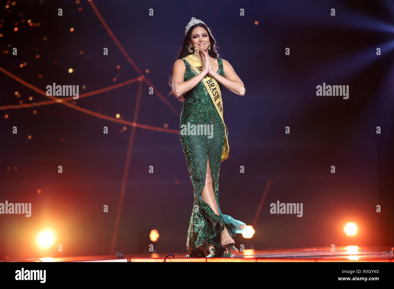 Sao Paulo, Brazil. 9th March 2019. Mayra Dias winner 2018 Be Emotion during contest Miss Brazil Be Emotion in the exhibition center São Paulo Expo in the south region of the city of São Paulo, 09. Credit: William Volcov/ZUMA Wire/Alamy Live News Stock Photo