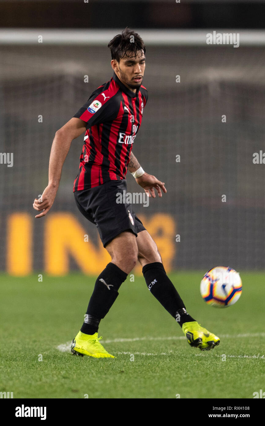 Verona, Italy  9th March 2019  Lucas Paqueta (Milan) during