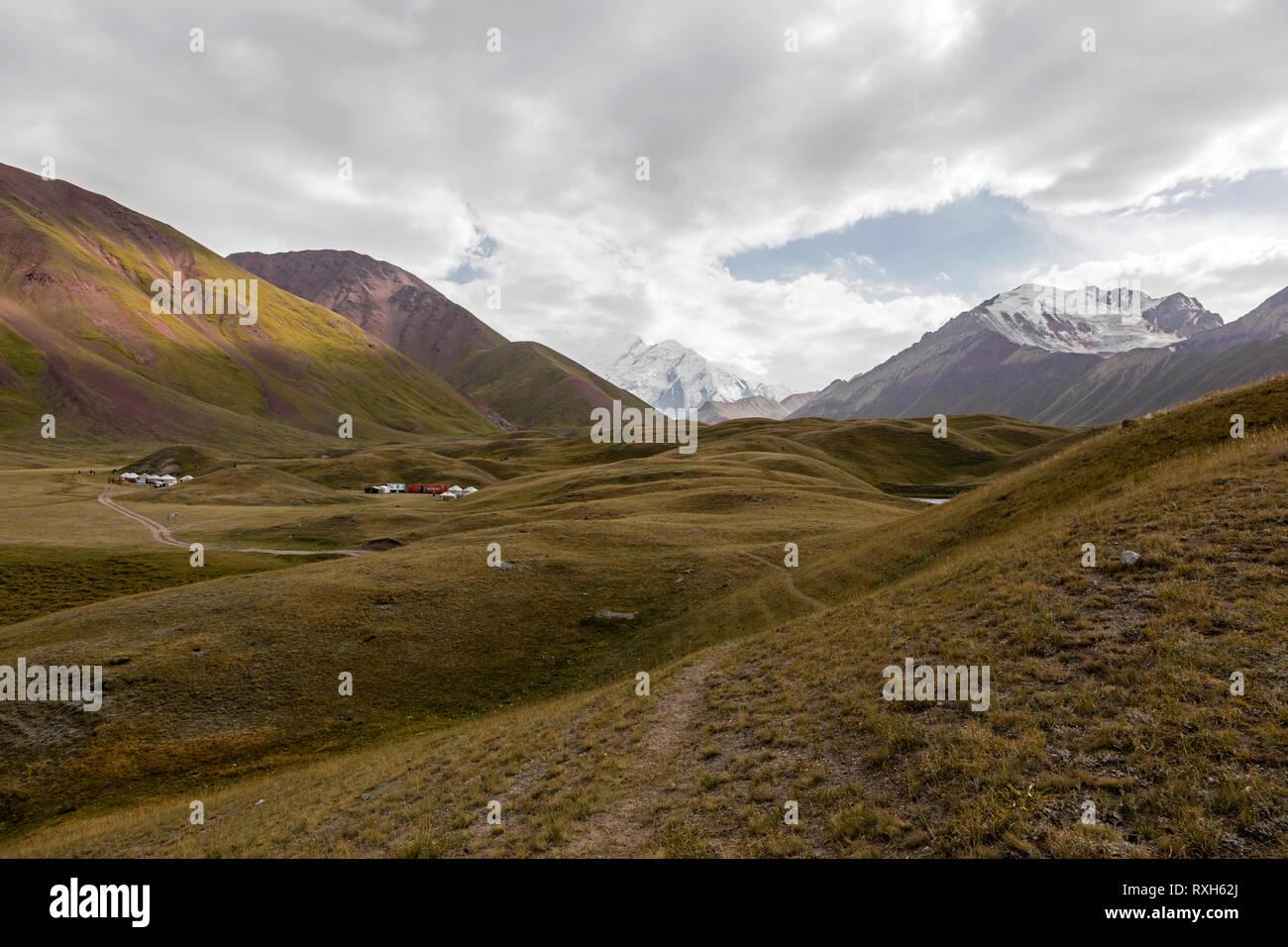 Tulpar, Kyrgyzstan August 21 2018: Yurt Base Camp at Tulpar Lake at the foot of Peak Lenin in Kyrgyzstan Stock Photo