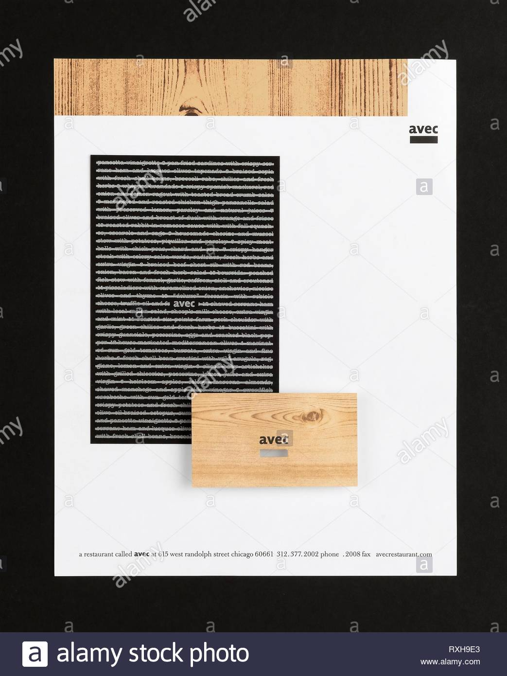 Avec. Jason Pickleman; American, born 1965. Date: 2005. Dimensions: 27.9 × 21.6 cm (11 × 8 1/2 in.). Graphic identity system: letterhead, paper. Origin: United States. Museum: The Chicago Art Institute. - Stock Image