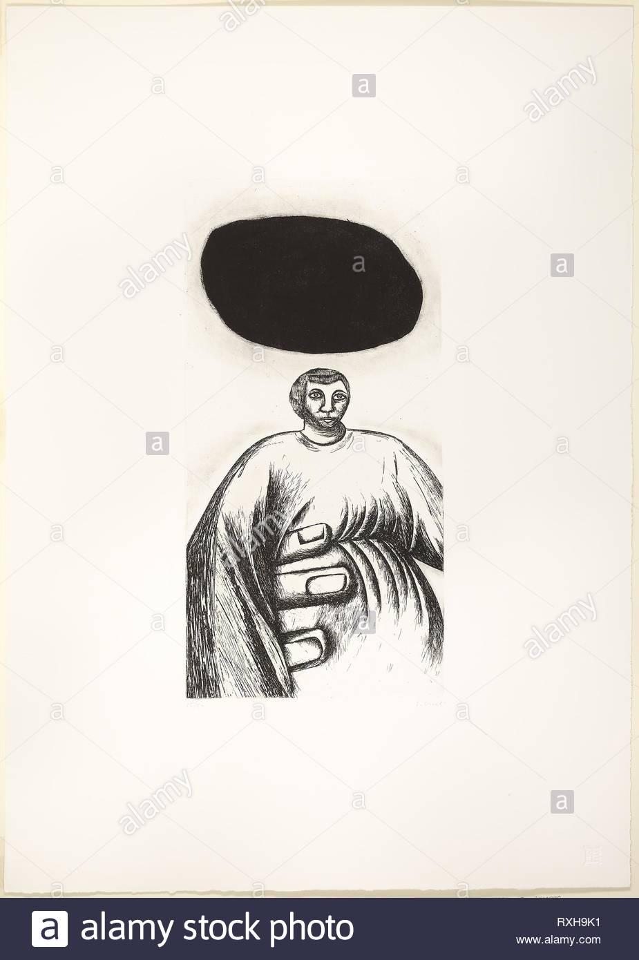 La Mano di Pietra. Enzo Cucchi; Italian, born 1949. Date: 1982. Dimensions: 495 x 245 mm (image/plate); 848 x 598 mm (sheet). Drypoint and mezzotint on white wove paper. Origin: Italy. Museum: The Chicago Art Institute. - Stock Image