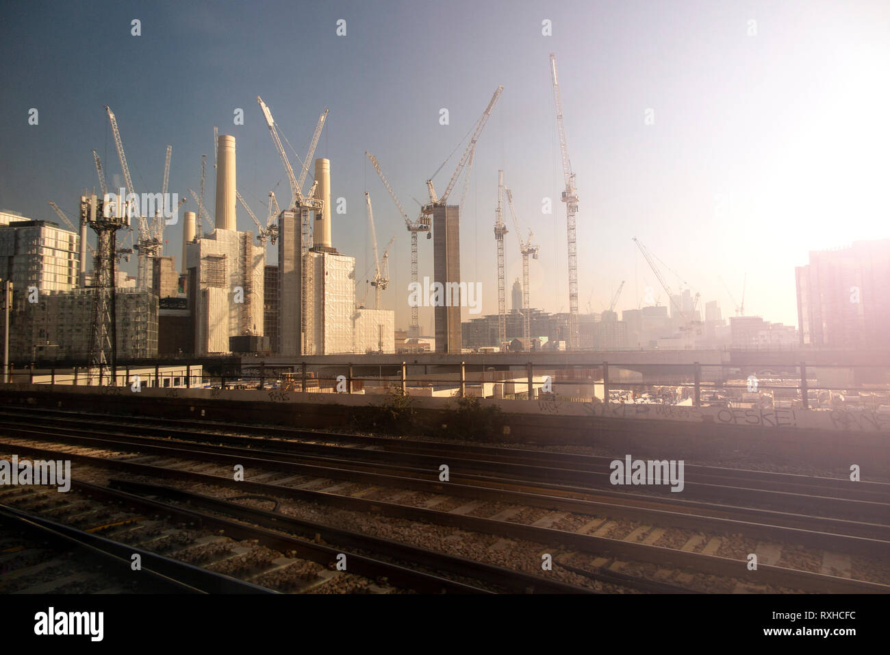 Battersea Power Station redevelopment early in the morning Stock Photo