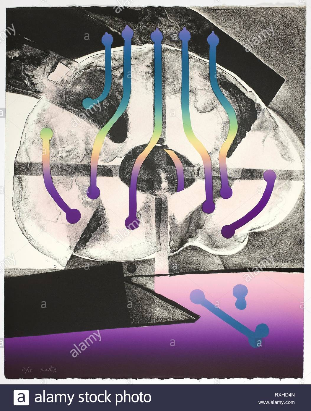 Plate Three, from Synapse Suite. Martyl; American, 1918-2013. Date: 1974. Dimensions: 560 x 455 mm. Color lithograph on paper. Origin: United States. Museum: The Chicago Art Institute. Author: Suzanne Martyl Langsdorf. - Stock Image