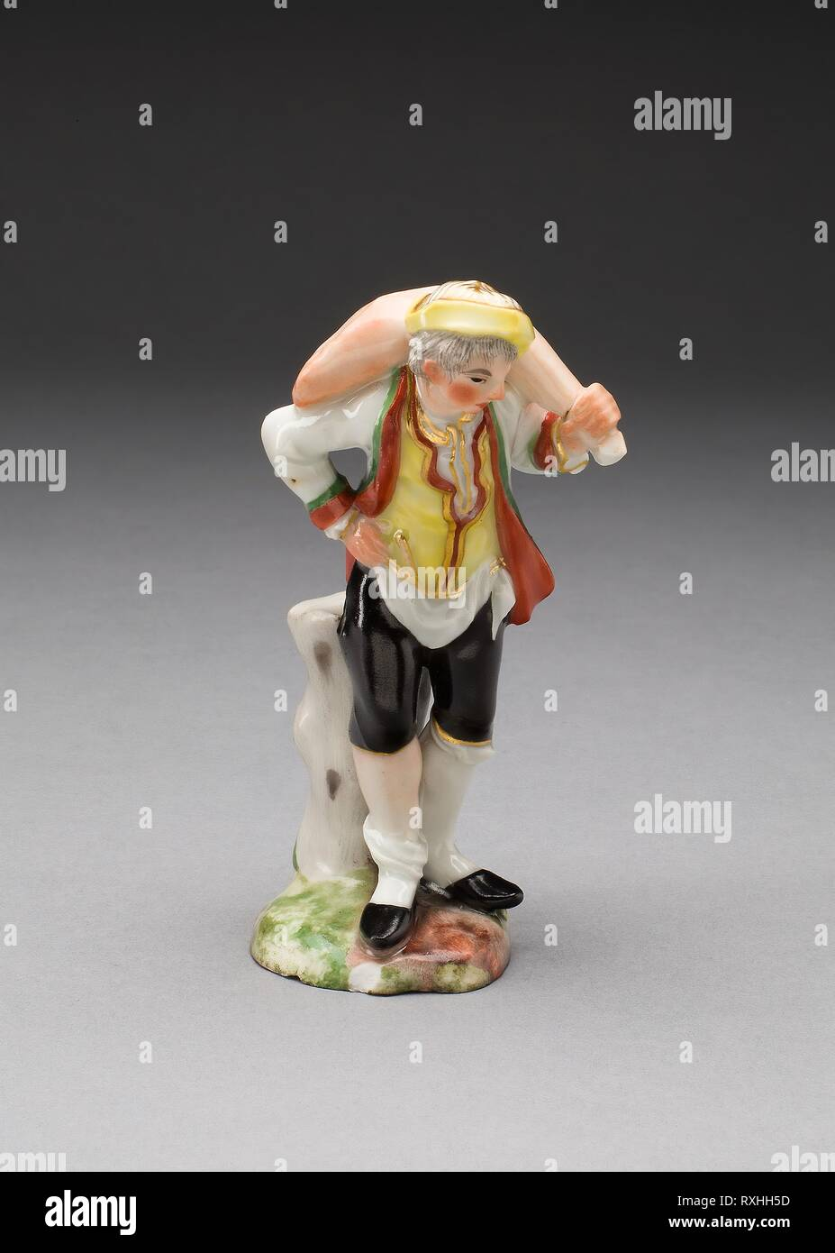 Figure of a Butcher. Attributed to Jean-Jacques Louis; French, 1703-1772. Date: 1760-1770. Dimensions: H. 11.4 cm (4 1/2 in.). Hard-paste porcelain, polychrome enamels, and gilding. Origin: France. Museum: The Chicago Art Institute. Stock Photo