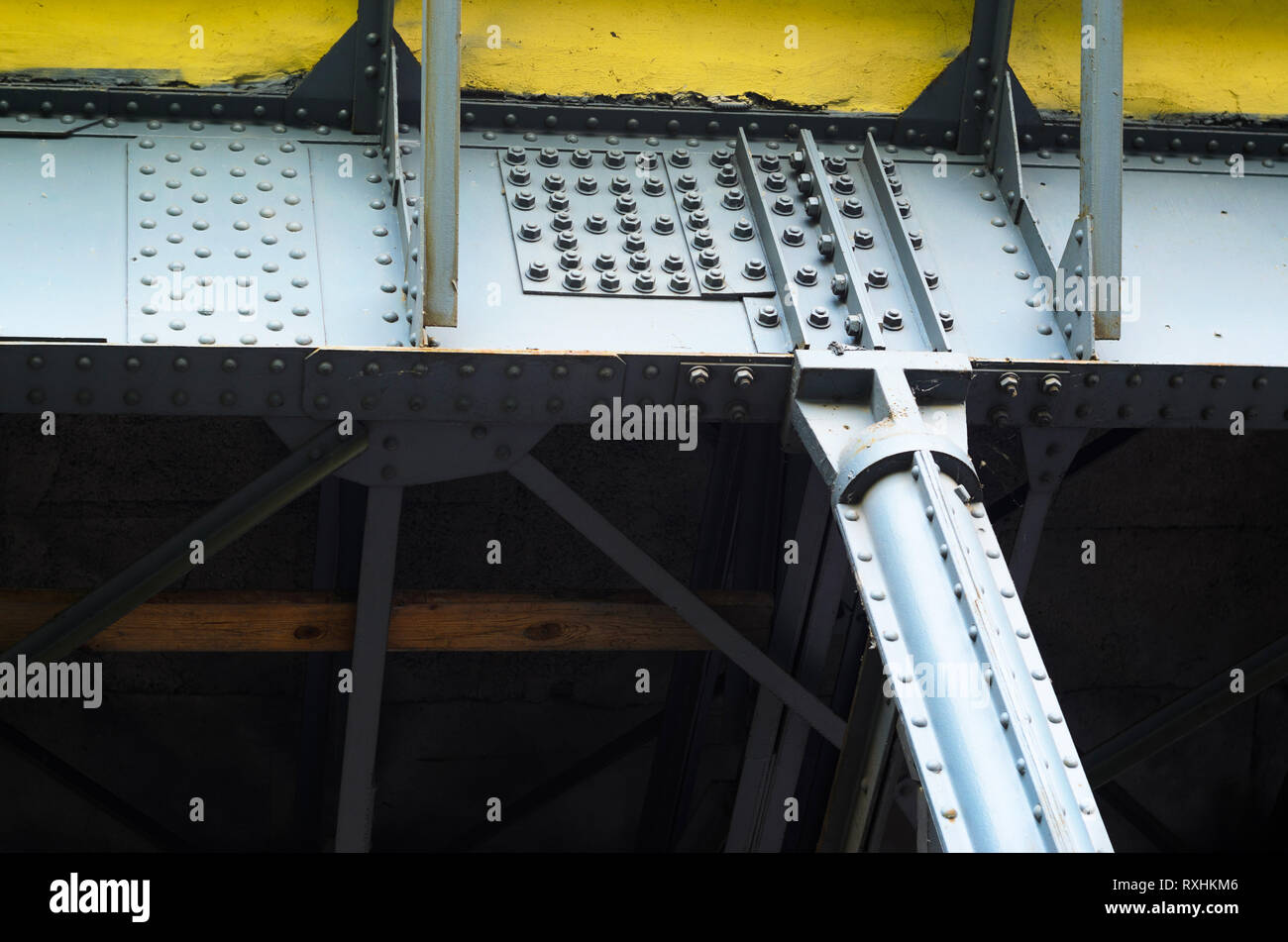 Steel Structure of the Bridge on Bolted and Riveted Joints - Stock Image