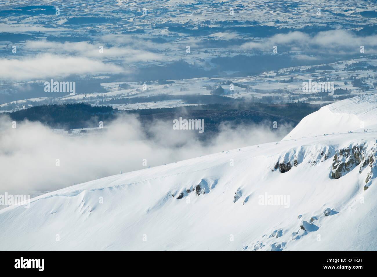 France, Puy de Dome (63), Besse-et-Saint-Anastaise, ski station of  Super Besse, Puy de Paillaret Stock Photo
