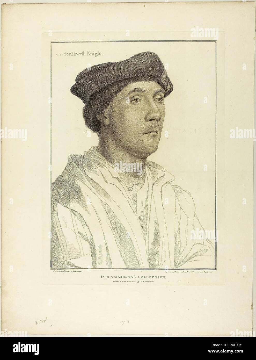 Sir Richard Southwell. Francesco Bartolozzi (Italian, 1727-1815); after Hans Holbein the younger (German, 1497-1543). Date: 1795. Dimensions: 372 x 270 mm (image); 410 x 299 mm (plate); 539 x 410 mm (sheet). Stipple engraving on cream wove paper. Origin: Italy. Museum: The Chicago Art Institute. - Stock Image