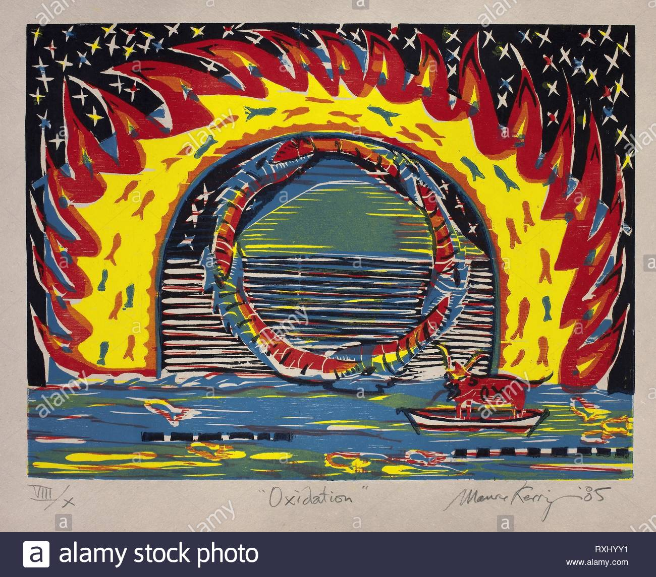 Oxidation. Maurice Kerrigan; American, born 1951. Date: 1985. Dimensions: 455 x 605 mm (image); 590 x 808 mm (sheet). Color woodcut on gray wove paper. Origin: United States. Museum: The Chicago Art Institute. - Stock Image
