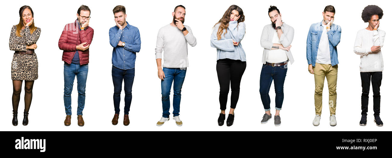 Collage of people over white isolated background thinking looking tired and bored with depression problems with crossed arms. Stock Photo